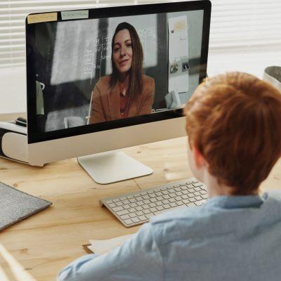 Video call with online teacher